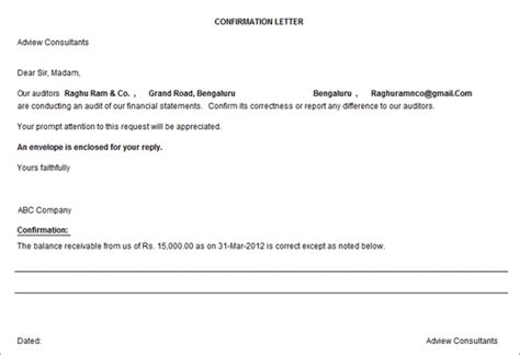 Loan Balance Confirmation Letter Format For Audit External Confirmation Third Confirmation