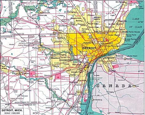printable road map of detroit kaarten van detroit gedetailleerde gedrukte