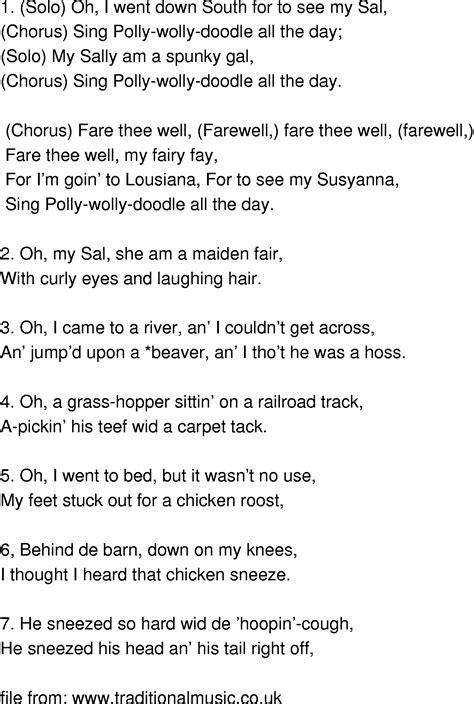 doodlebug song lyrics time song lyrics polly wolly doodle