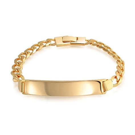 unisex gold filled curb chain id bracelet 180 8in