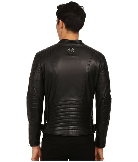 motor leather lyst philipp plein leather motor jacket in black for men