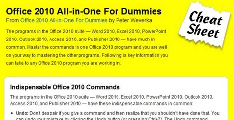 Word 2010 All In One For Dummies mega collection of cheatsheets for designers developers