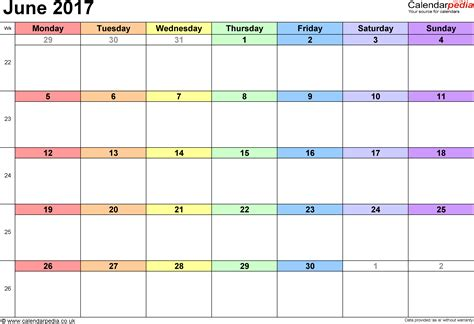Calendar Of June Calendar June 2017 Uk Bank Holidays Excel Pdf Word Templates