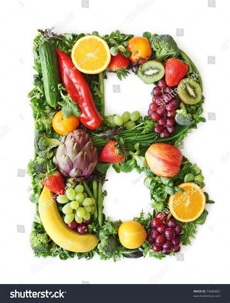 b fruity fruit and vegetable alphabet letter b stock photo