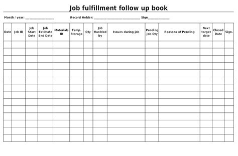 follow up reports templates fulfillment follow up book format