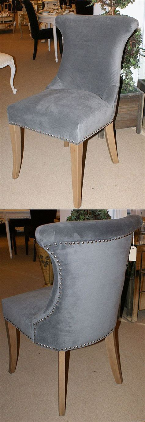 french grey velvet studded dining chair dining space