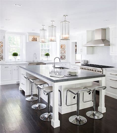 white kitchen island with stools gorgeous lem piston stools in white at the kitchen island