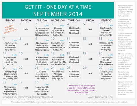 printable exercise program for beginners daily beginner workout plan for september