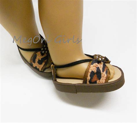 American Handmade Shoes - american 18 doll shoes sandals leopard prints brown