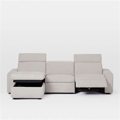 storage sectional enzo reclining 3 seater sectional with storage chaise
