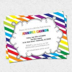items similar to printable birthday invitation rainbow colorful modern diagonal