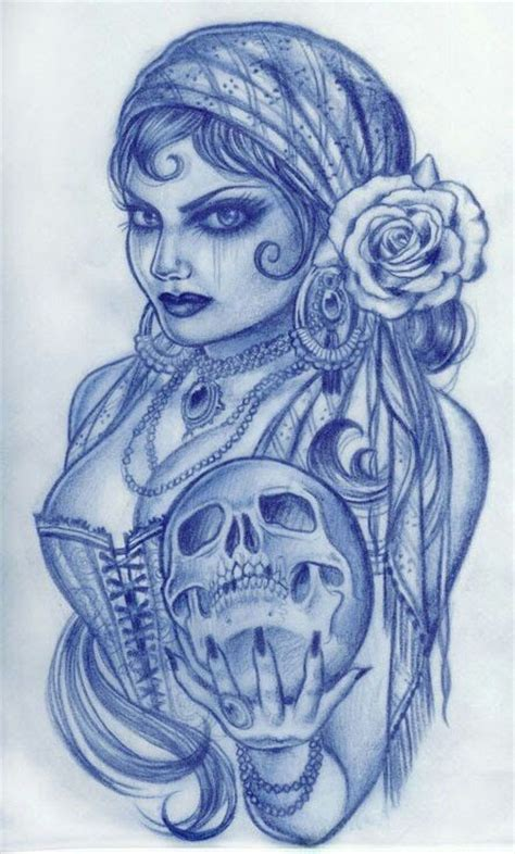 gypsy woman tattoo i how she s holding the skull like a