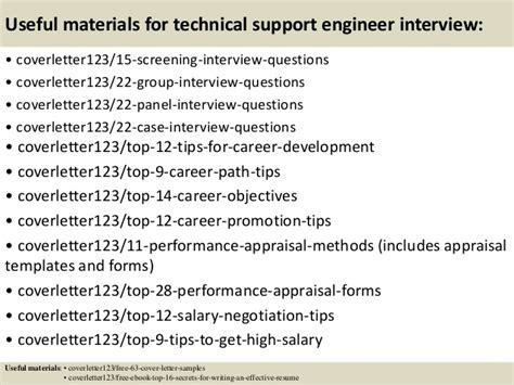 Technical Support Engineer Cover Letter by Top 5 Technical Support Engineer Cover Letter Sles