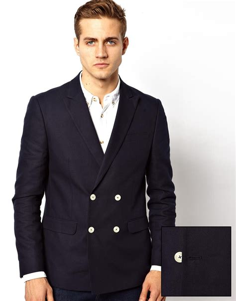 Breasted Slim Fit Blazer lyst asos slim fit breasted blazer with white