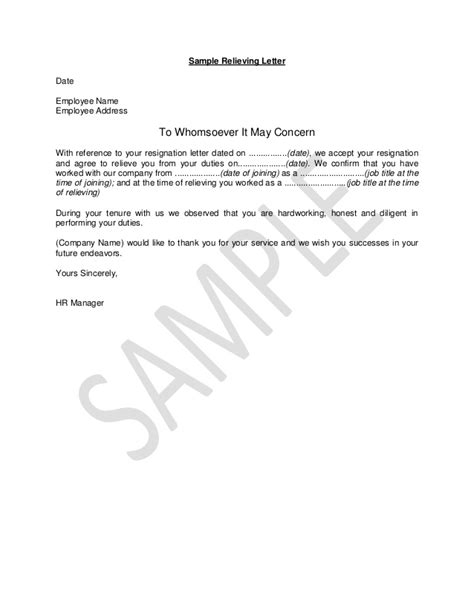 Relieving Letter Format Sle Pdf Hr Guide Sle Relieving Letter