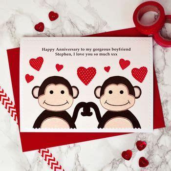 'monkeys' personalised anniversary card by jenny arnott