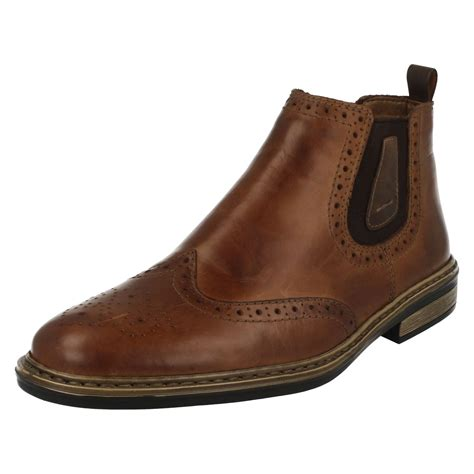 pull on boots mens rieker wide fitting brogue pull on boots 37681 ebay