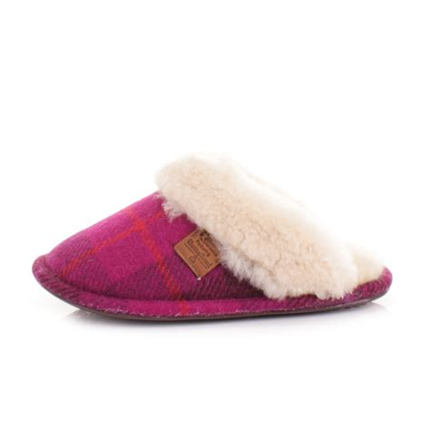 bedroom slippers womens bedroom athletics kate purple pink tweed sheepskin slippers size 33 4 7 8