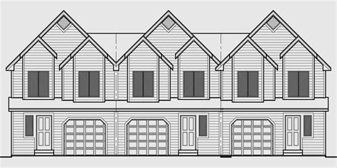 townhouse plans with garage triplex house plan townhouse with garage row house t 414