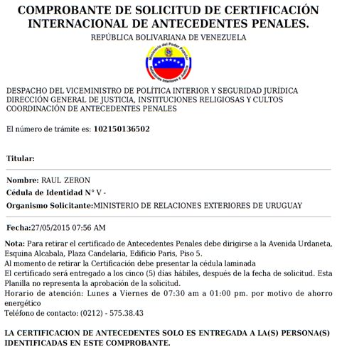 papeles para la carta de antecedentes no penales 2016 201 xodo venezolano certificaci 243 n de antecedentes penales