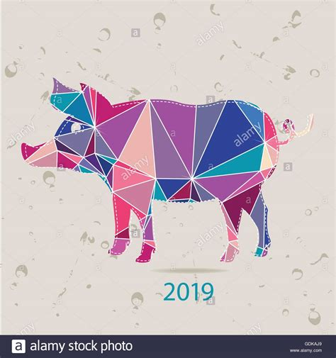new year animal 2019 the 2019 new year card with pig made of triangles stock