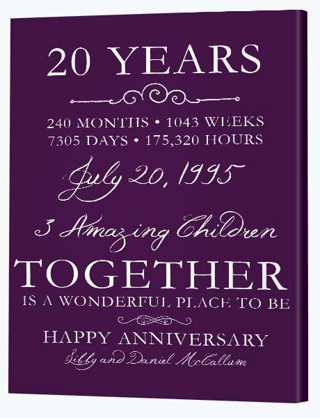 20th Wedding Anniversary Gifts by 20th Wedding Anniversary Gifts Canvas Factory