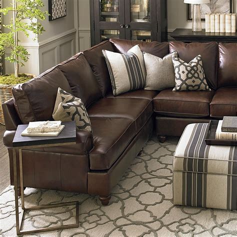 Brown Leather Decor by American Casual Montague Large L Shaped Sectional
