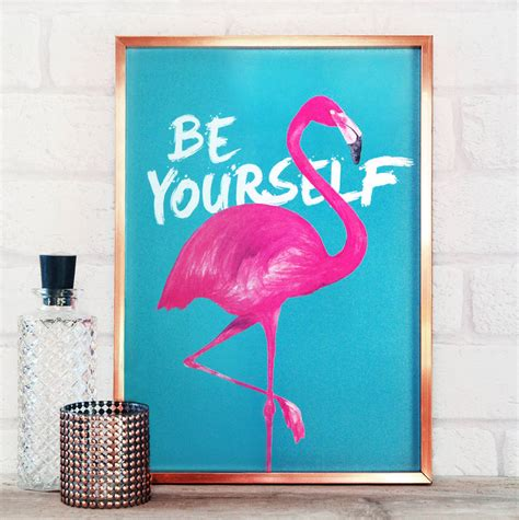 Frame Bingkai Pigura Poster Flamingo A4 be yourself flamingo print by paper plane notonthehighstreet