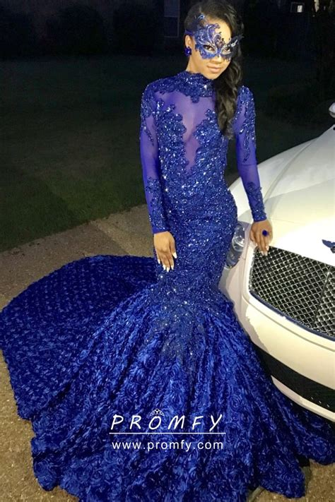 sparkly beaded cobalt blue illusion high neck long sleeve