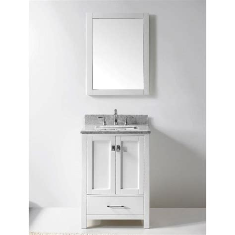 24 Inch Bathroom Vanity With Top Transitional 24 Inch White Bathroom Vanity With White Marble Top