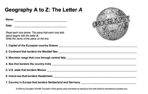 Free Geography Worksheets by Geography A To Z Free Printable Worksheets Five J S