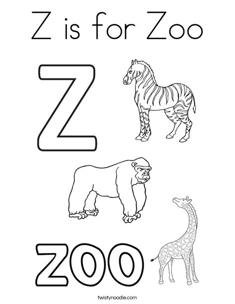 Z Is For Zoo Coloring Page Twisty Noodle Z Coloring Page