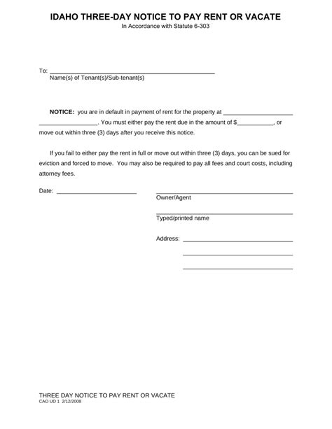 Idaho 3 Day Notice To Quit Form Non Payment Of Rent Eforms Free Fillable Forms Free 3 Day Notice Template