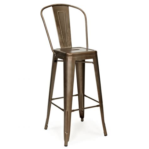 bar stool with back rest rustic 65cm tolix style metal bar stool with high back rest cult uk