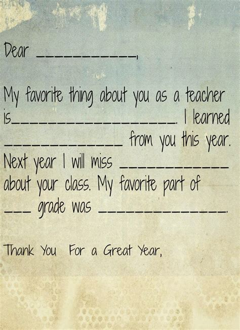 Thank You Note To Preschool End Of Year end of preschool and gift ideas note