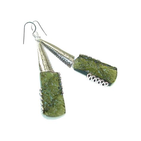 Green Moldavite excelent green moldavite silver sterling earrings 13 60g