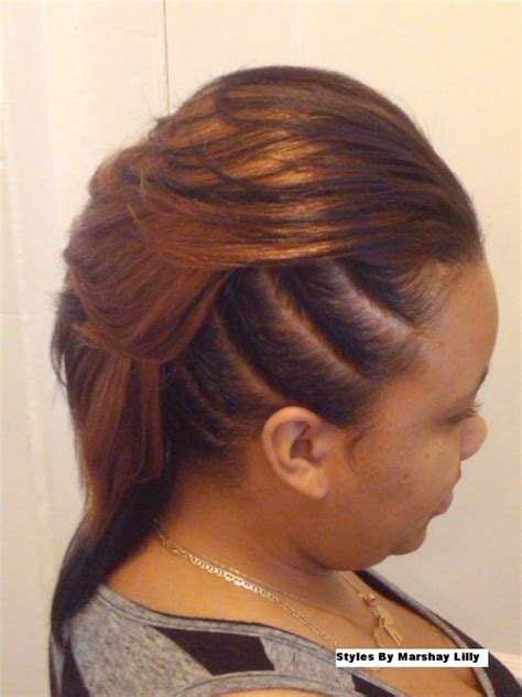 how to do mohawk sew in hairstyles feathered mohawk side full jpeg 576 215 768 sew ins