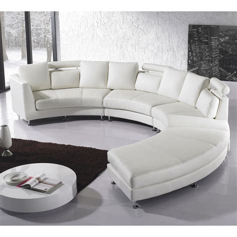 round leather sectional sofa beliani rotunde white modern design round leather