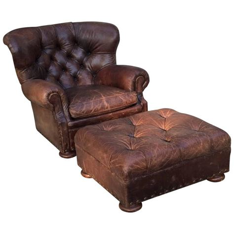 large leather chair and ottoman handsome large ralph lauren button tufted club chair and