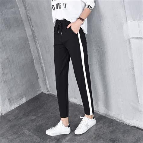 Celana Jogger Striped Cln 1136 casual harem baggy white bar stripe ankle length with side pockets sweatpants