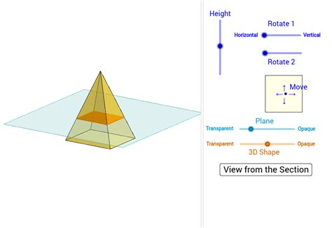 pyramid cross section sections of rectangular pyramids geogebra