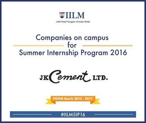 Mba Summer Internships 2016 India j k cement iilm career management centre