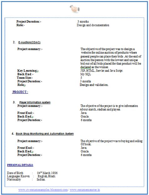 Resume Format Doc For Fresher Mca Standard Resume Format For Freshers Doc