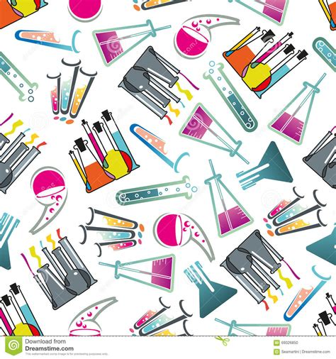 pattern lab themes laboratory glasses tubes and flasks pattern stock vector