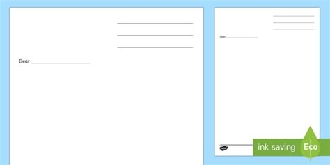 blank letter template kids writing