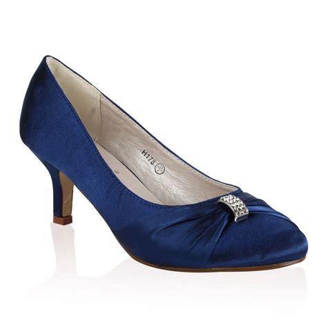 Navy Satin Wedding Shoes by Womens Navy Satin Diamante Bow Bridal Wedding Mid