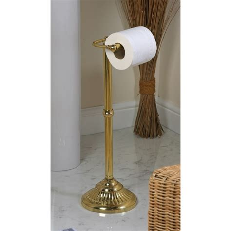 victorian  standing toilet roll holder polished brass black country metalworks