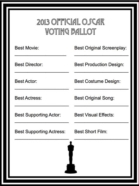 free voting ballot template academy awards ballots printable 2016 search results