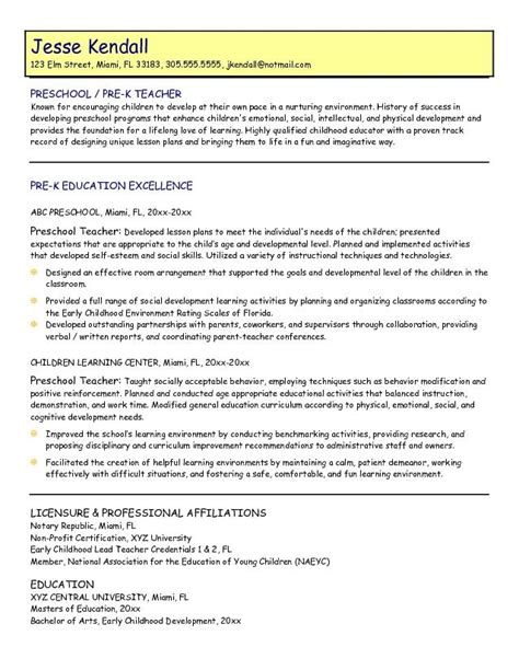 Resume Objective Exles For Teachers Preschool Resume Whitneyport Daily