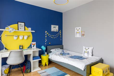 chambre d enfant garcon chambre de gar 231 on bleue et jaune contemporain chambre